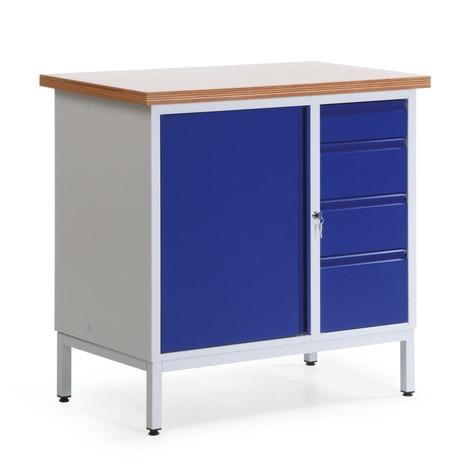 Kleine Kompaktwerkbank mit Flügeltürschrank + Schubladen, stationär