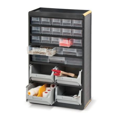 Kleinteilemagazin BASIC, mit Kunststoffgehäuse, Tiefe 165 mm