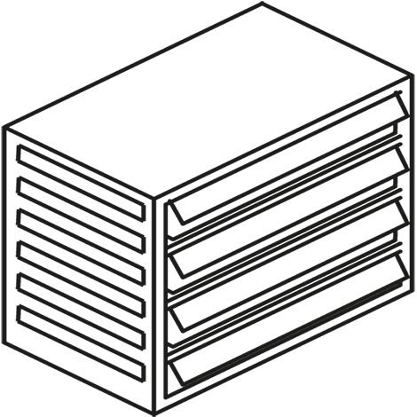 Kleinteilmagazin, 4 Schubladen Typ E, Höhe 290mm