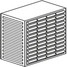 Kleinteilmagazin, 48 Schubladen Typ B, Höhe 550mm