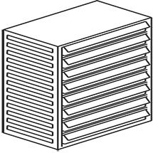 Kleinteilmagazin, 8 Schubladen Typ E, Höhe 550mm