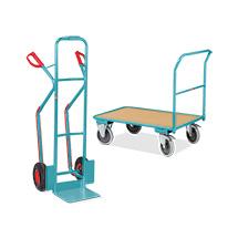 Kombi-Angebot: Magazinwagen Ameise®,  200 kg, 850 x 450 mm + Transportkarre Ameise® Luftbereifung