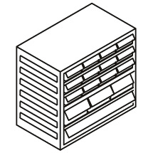 Kombi-Magazin 16 Schubladen x Typ 12xB, 3xD, 1xE, Höhe 290mm