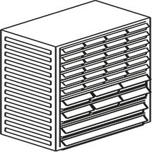 Kombi-Magazin, 32 Schubladen x Typ 24xB, 6xD, 2xE, Höhe 550mm