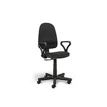 Komfort-Bürodrehstuhl, Stahl Fußkreuz, 2 Sitzfarben zur Auswahl, Gesamthöhe 880-1000