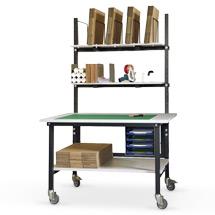 Kompakt-Packtisch mobil. Mit Ablage, Kartonmagazin und Radausstattung