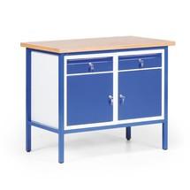 Kompaktowy ława warsztatowa z 2 szafkami na zawiasach + 2 szuflady