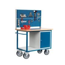 Kompaktowy ława warsztatowa z szafką drzwiczkową + 2 perforowane płyty