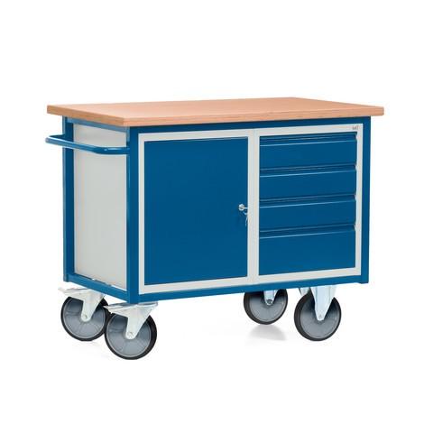 Kompaktowy stół warsztatowy z szafką dwudrzwiową, 4 szufladami, wersja mobilna