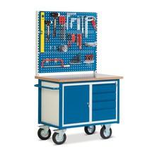 Kompaktwerkbank mit 1 Flügeltürschrank + 4 Schubladen + 3 Lochplatten
