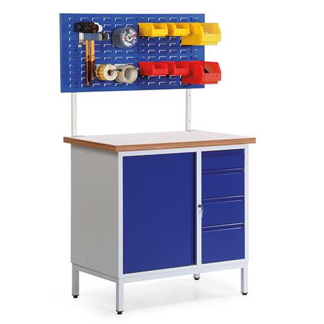 Kompaktwerkbank mit 1 Schrank, 6 Schubladen, 1 Schlitzplatte. Tragkraft 400 kg