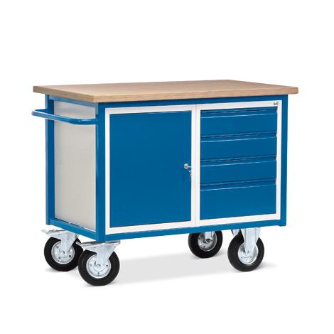 Kompaktwerkbank mit 1 Schrank und 4 Schubladen. Tragkraft 500 kg