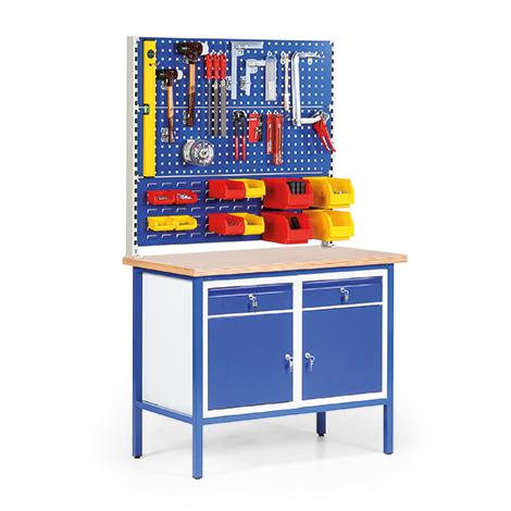 Kompaktwerkbank mit 2 Schubladen, 2 Schrankfächern, 2 Loch- + 1 Schlitzplatte