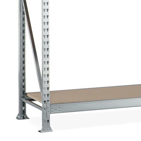 Kompletní sada širokého regálu META, s dřevotřískovými deskami, nosnost regálu 600 kg