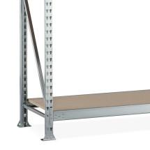 Kompletný balík širokého regála META, s drevotrieskovými doskami, nosnosť regálu 600 kg