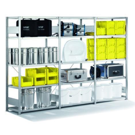 Kompletny pakiet: regał półkowy META, obciążenie półki 230 kg, ocynkowany