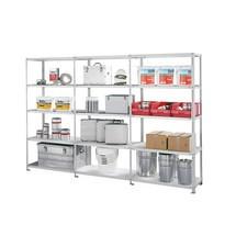 Kompletny pakiet: regał półkowy META wsystemie śrubowym, obciążenie półki 100 kg, ocynkowany