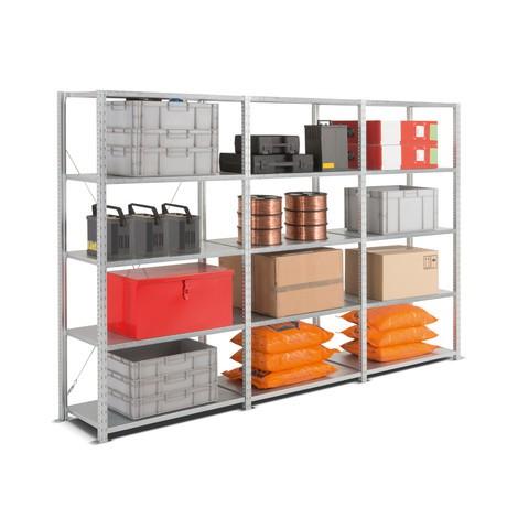 Kompletny pakiet: regał półkowy zpółkami zblachy stalowej