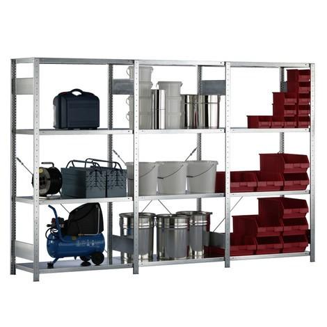Kompletny regał półkowy META oobciążeniu półki 150 kg