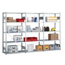 Kompletny regał półkowy META w systemie wtykowym, nośność półki 100 kg, ocynkowany
