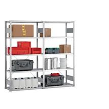 Kompletny regał półkowy META w systemie wtykowym, nośność półki 150 kg, ocynkowany