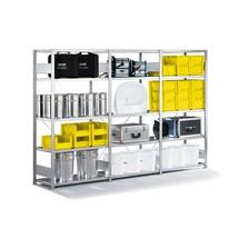 Kompletny regał półkowy META w systemie wtykowym, nośność półki 230 kg, ocynkowany