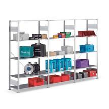 Kompletny regał półkowy META w systemie wtykowym, nośność półki 80 kg, ocynkowany