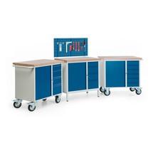 Kompletny zestaw, 3 kompaktowe stoły warsztatowe z mocowanie, nośność 400 kg