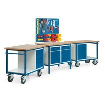 Kompletny zestaw, 3 kompaktowe stoły warsztatowe z mocowanie, nośność 500 kg