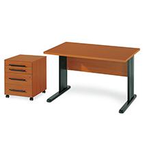 Komplett-Set STARTER: Schreibtisch+Rollconainer, Kirsch-Dekor