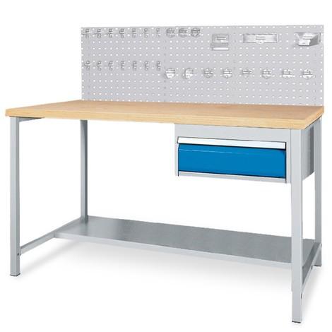 Komplett-Set Werkbanktisch mit Schublade + Lochplattenrückwand + Hakensortiment
