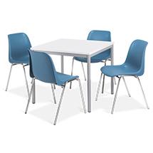 Komplettangebot: 1 quadratischer Tisch + 4 BASIC-Stühle blau