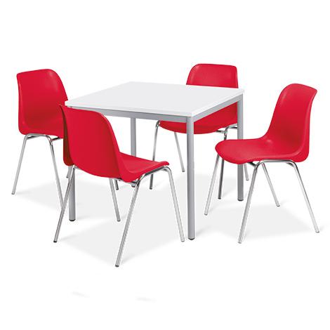 Komplettangebot: 1 quadratischer Tisch + 4 BASIC-Stühle rot