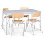 Komplettangebot: 1 Stahlrohrtisch + 4 Stühle