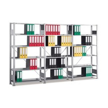 Komplettpaket Aktenregal, HxBxT 1.850 x 3.000 x 300 mm, 6 Fachböden, verzinkt