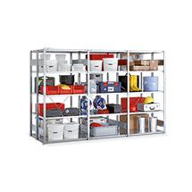Komplettpaket Fachbodenregal doppelzeilig META Stecksystem, Fachlast 230 kg,3 Felder, verzinkt