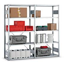 Komplettpaket Fachbodenregal META Stecksystem, Fachlast 150 kg,3 Felder, verzinkt