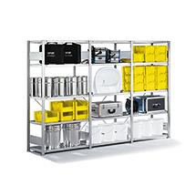Komplettpaket Fachbodenregal META Stecksystem, Fachlast 230 kg,3 Felder, verzinkt