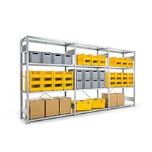 Komplettpaket Weitspannregal Stecksystem, Bestehend aus 3 Feldern, Fachlast 230 kg, verzinkt