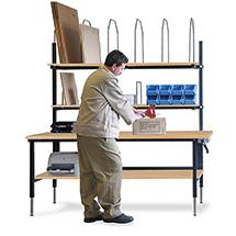 Komplettset Einzelpacktisch. Ablage + Karton.magazin. Platte Multiplex
