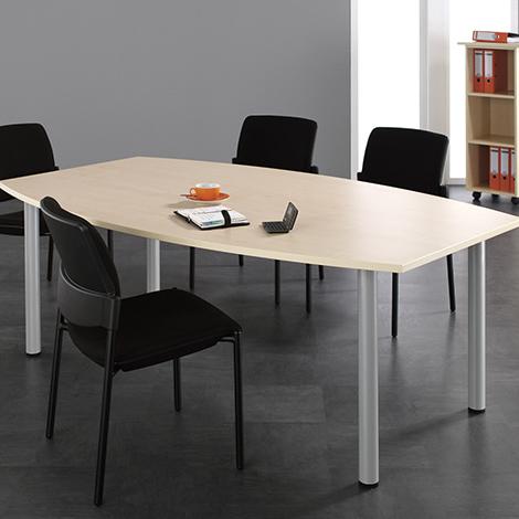 Konferenztisch fassförmig, LxBxH 2000x800/1200x720 mm