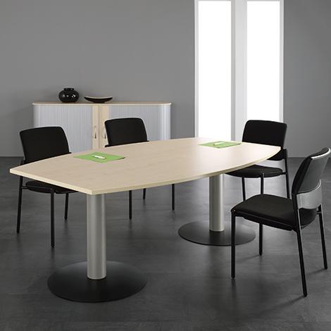 Konferenztisch fassförmig, LxBxH 2000x800/1200x720 mm, Tellerfuß