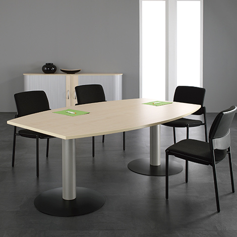 Konferenztisch fassförmig, LxBxH 2400x800/1200x720 mm, Tellerfuß