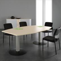 Konferenztisch fassförmig, mit Tellerfuß