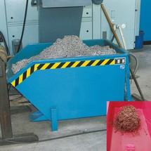 kontener przechylny towy oddzielający, półka pośrednia z błacha dziurkowana, malowany, pojemność 0,75 m³