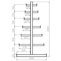 Konzolový regál META základní pole, dvoustranný, nosnost 150 kg