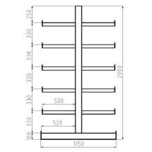 Konzolový regál META základní pole, dvoustranný, nosnost 200 kg