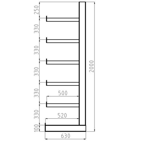 Konzolový regál META základní pole, jednostranný, nosnost 200 kg