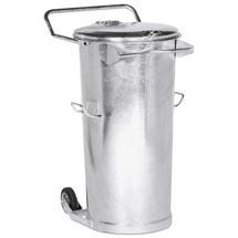 Kosz na śmieci z blachy stalowej ocynkowanej ogniowo, 110 litrów