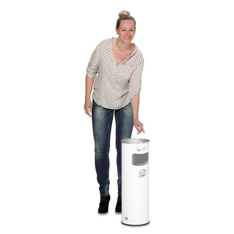Kosz na śmieci z popielniczką VAR®, model stojący, 16,7 litra